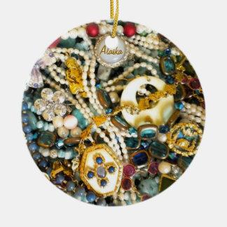 Gold & Ivory Ceramic Ornament