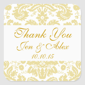 Gold Ivory Damask Wedding Favor Square Sticker