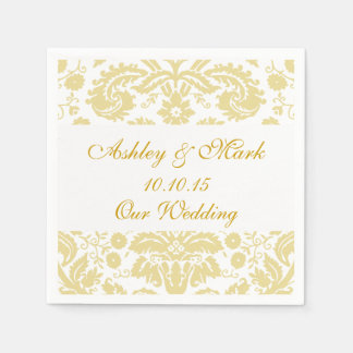 Gold Ivory Damask Wedding Paper Napkins