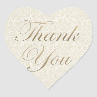 Gold & Ivory Lace Thank You Sticker