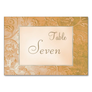Gold Jade Autumn Floral Border Wedding Table Cards