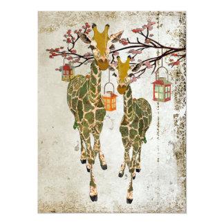 "Gold & Jade Giraffes Cherry Blossom Invitation 5.5"" X 7.5"" Invitation Card"
