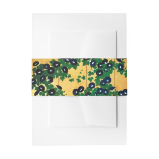 Gold Japanese Morning Glories Belly Band Invitation Belly Band