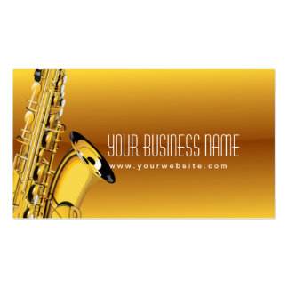 Gold Jazz Saxophone Music Business Card