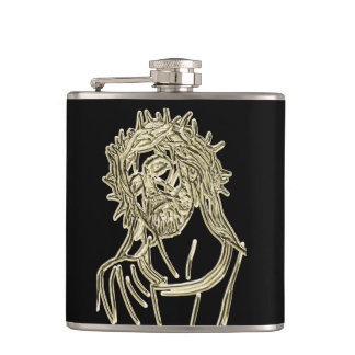 Gold Jesus looking up to god glimmering brightly Hip Flask