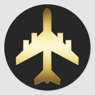 GOLD JET AIRPLANE CLASSIC ROUND STICKER