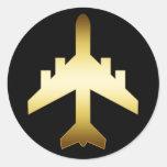 GOLD JET AIRPLANE STICKER