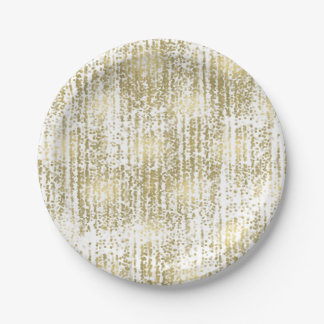 Gold Jewel Bokeh Abstract Wedding 7 Inch Paper Plate