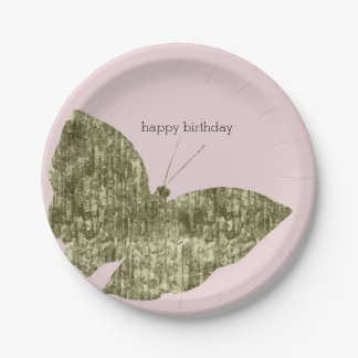 Gold Jewel Butterfly Birthday 7 Inch Paper Plate