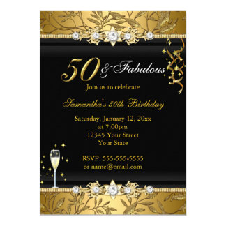 "Gold Jewel Leaf 50 Fabulous Birthday Black 5"" X 7"" Invitation Card"