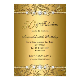 Gold Jewel Leaf 50 Fabulous Birthday Invitation