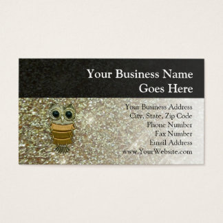 Gold Jewel Owl Business Card