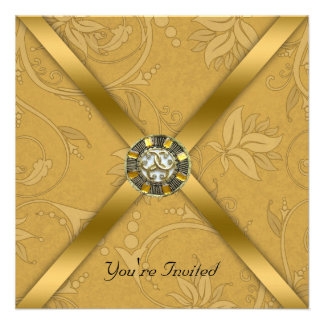 Gold Jewelled Party Invitation