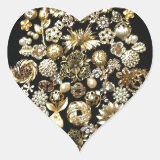 Gold Jewelry Christmas Tree Heart Sticker