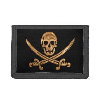 Gold Jolly Roger Tri-fold Wallets