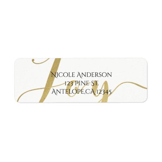 Gold JOY Holiday New Years Christmas Personalized Return Address Label