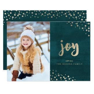 Gold Joy on Teal Holiday Photo Card
