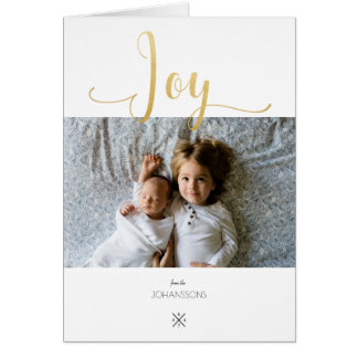 Gold JOY photo greeting card