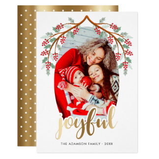 Gold Joyful Script   Trendy Holiday Photo Card