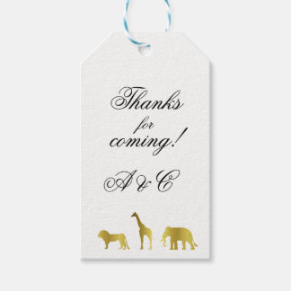Gold Jungle Animals Gift Tags