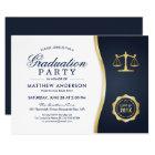 Gold Justice Wreath Law School Graduation Party Card