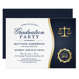 Gold Justice Wreath Law School Graduation Party Card