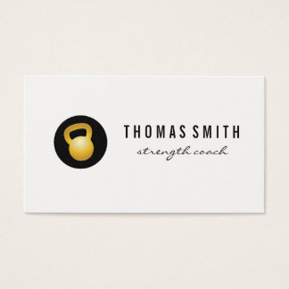 (Gold) Kettle Bell Fitness Trainer Business Card