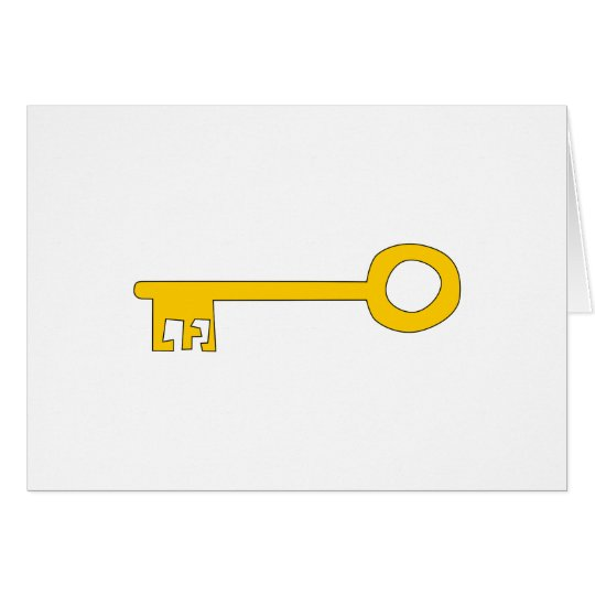 Gold Key on White. Card
