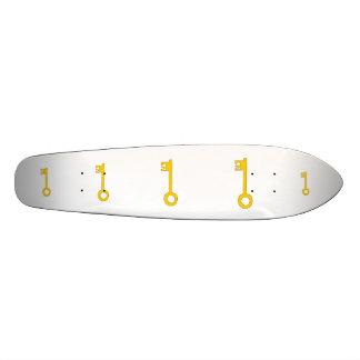 Gold Key on White. Custom Skateboard