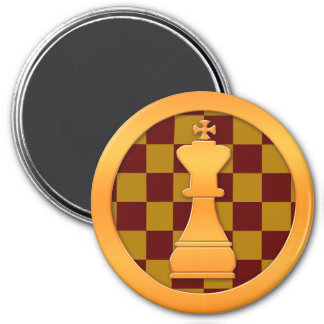 Gold King Chess Piece 3 Inch Round Magnet