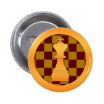 Gold King Chess Piece Pinback Buttons