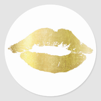 Gold Kiss on White Background Stickers