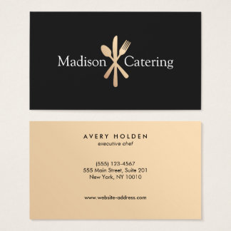 Gold Knife Spoon and Fork Catering Logo Black Business Card