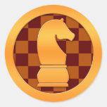 Gold Knight Chess Piece Classic Round Sticker
