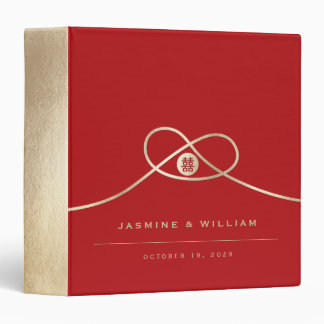 Gold Knot Double Happiness Chinese Wedding Binder