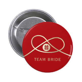 Gold Knot Double Happiness Wedding Party Button