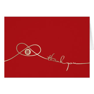 Gold Knot Double Happiness Wedding Thank You Card