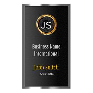 Gold Label Chrome Metal Frame Dark Business Card