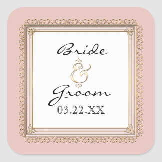 Gold & Lace Classic Formal Elegant Wedding Invite Stickers