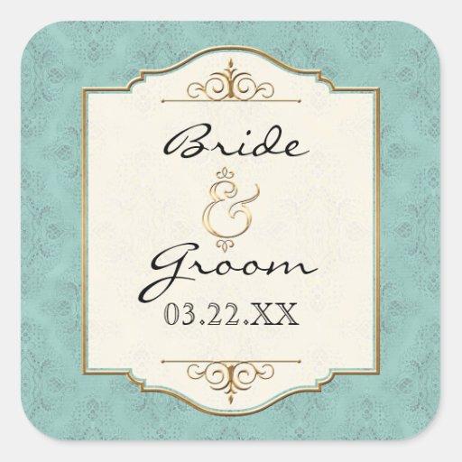 Gold & Lace Classic Formal Elegant Wedding Invite Square Sticker