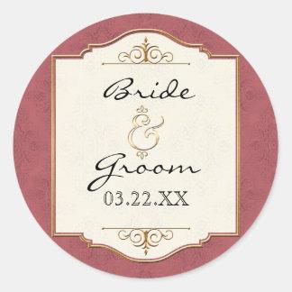Gold & Lace Classic Formal Elegant Wedding Invite Sticker