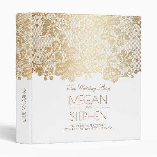 Gold Lace Elegant White Wedding 3 Ring Binders