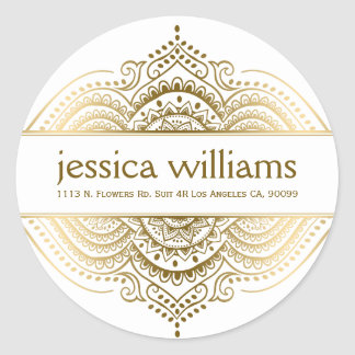Gold Lace Floral Paisley Geometric Design Round Sticker