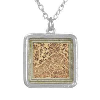 Gold Lace Flowers Silver Plated Necklace