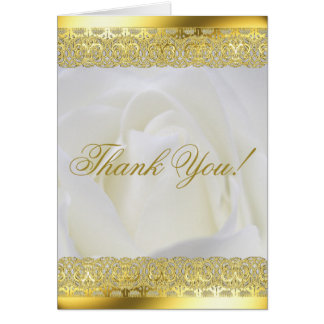Gold Lace on White Rose Wedding Card
