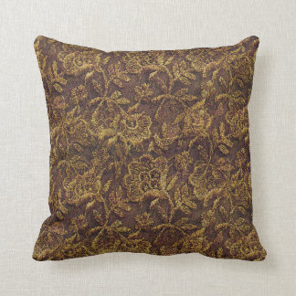 Gold Lace Pattern Throw Pillow