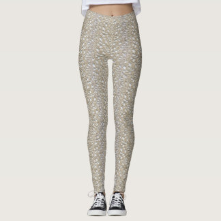 Gold Lace Pattern Yoga Gym Exercise Leggings Pants