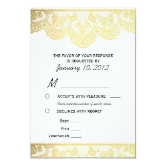 "Gold Lace RSVP with Meal Options 3.5"" X 5"" Invitation Card"