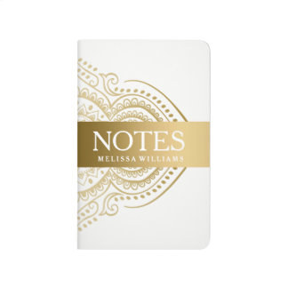 Gold Lace White Background Journal