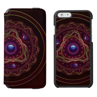 Gold Lace with Fractal Rubies on Burgundy Satin Incipio Watson™ iPhone 6 Wallet Case